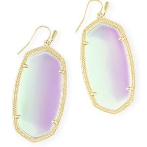 Kendra Scott Danielle Gold Earrings Dichroic Glass